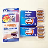 #9: WHY PAY MORE? Quality Choice SIX 6 BLADE SHAVING MEN RAZOR SYSTEM with TRIMMER HANDLE Total 12 POLYMER COATED CARTRIDGES COMBO SUPER VALUE PACKAGE BY DORCO MANUFACTURE (12 Pack + 1 Handle)