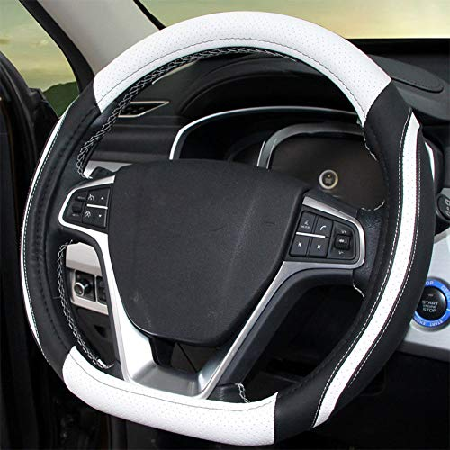CGYAE Four Seasons Universal 38cm/15 Inch D-Type Willow Steering Wheel coverProtector Leather Strong Breathability Comfortable Touch Non-Slip Durable Flexible,A
