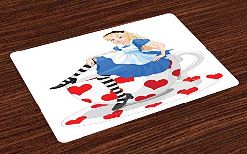 Ambesonne Alice in Wonderland Place Mats Set of 4, Alice Sitting on a Tea Cup with Heart Shape Character Fantasy Tale, Washable Fabric Placemats for Dining Room Kitchen Table Decor, -