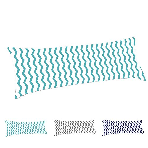 TAOSON 100% Cotton 300 Thread Count Aqua Blue and White Chevron Zig Zag Full Length Zippered Body Pillow Cover Pillowcase Pillow Protector Cushion Cover Only Cover No Insert 21x54