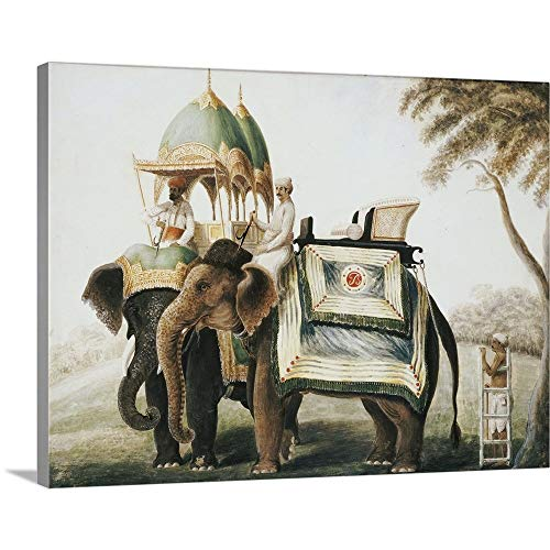 (GREATBIGCANVAS Gallery-Wrapped Canvas Entitled Elephants with Their Mahout, c.1815 (Pencil and w/c heightened with White one Paper) by Anglo-Indian School 36