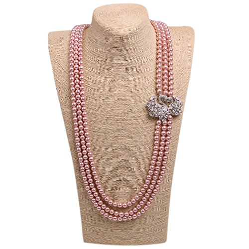 ART KIM Diamante Couple Swan Multiplaye Pearl Strands Necklaces (3 Layers Pink)