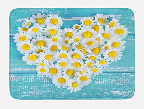 Heart Shaped Accessories - Ambesonne Yellow and Blue Bath Mat, Heart Shaped Daisy Flowers Romantic Love Valentine's Chamomile Blossoms, Plush Bathroom Decor Mat with Non Slip Backing, 29.5 W X 17.5 W Inches, Sky Blue White