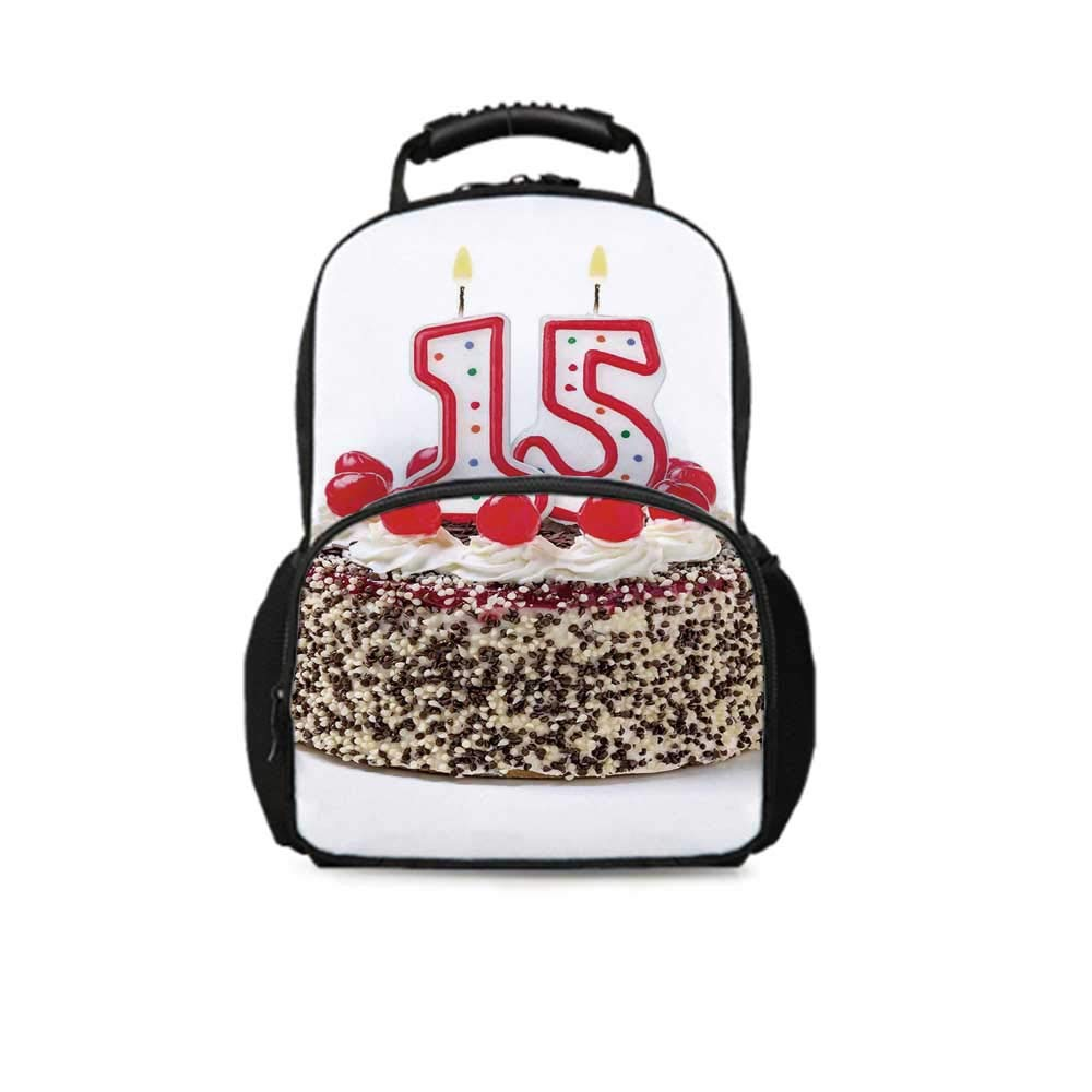 15th Birthday Decorations Leisure School Bag,Chocolate Cherry Cake with Number Candles Surpise Party Theme for School Travel,One_Size