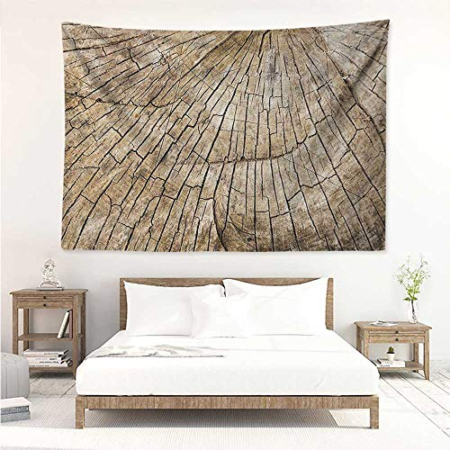 alisos Rustic,Wall Art Tapestry Ancient Aged Tree Trunk Cracked Body Natural Growth Ecology Environment Themed Print 91W x 60L Inch Home Decor Wall Hanging Brown