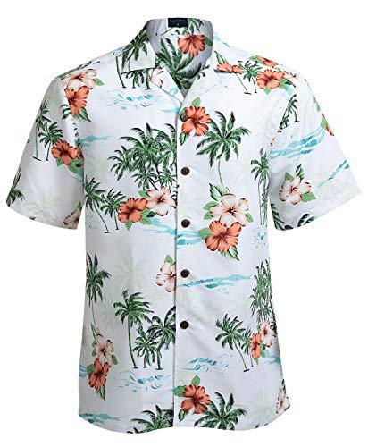 Hawaiian Shirts for Men Short Sleeve Regular Fit Mens Floral Shirts (YH1923,L)