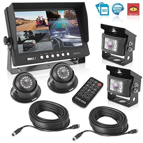 Quad Lcd Dvr - Rear View Backup Camera System - DVR Parking Reverse Car Truck Vehicle Dual Rearview Back Up Kit w/ 9
