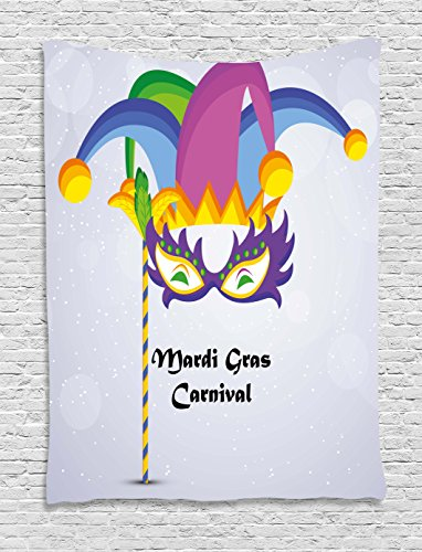 [Mardi Gras Tapestry by Ambesonne, Mardi Gras Carnival Inscription with Traditional Party Icons Clown Costume Hat, Wall Hanging for Bedroom Living Room Dorm, 60 W X 80 L Inches, Multicolor] (Female 80's Icons Costume Ideas)