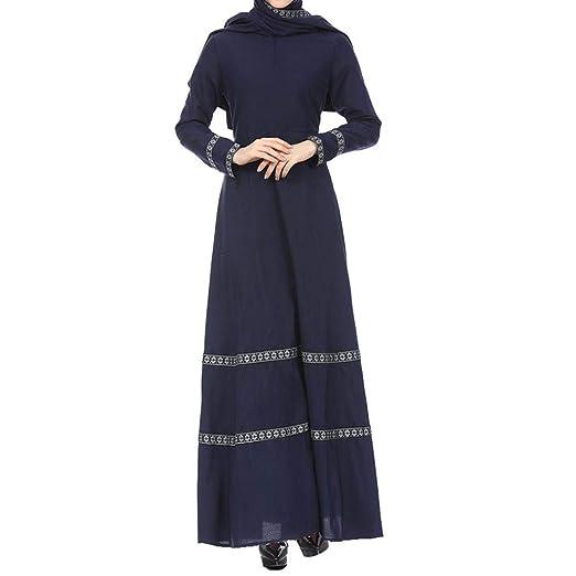 c83fd10756 Image Unavailable. Image not available for. Color  REYO ♥  S-XL  Women s  Dresses Muslim Lace Vintage Ankle-Length Dress