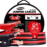 TOPDC Battery Jumper Cables 4 Gauge 25 Feet Heavy Duty Booster Cables with Carry Bag (4AWG x 25Ft)