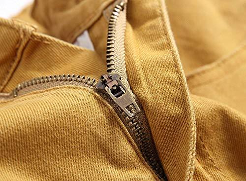 Skinny Pantaloni Retrò Vita Khaki Casual Da Elasticizzati A Kaki Jeans Slim Media Fit Fori In Con Denim Strappati Uomo rarqT