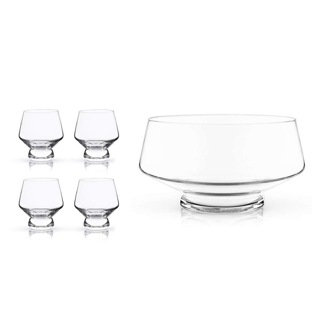 Viski Raye Footed Glass Punch Bowl Set with 4 Crystal Punch Cups - 5 Pieces by Viski