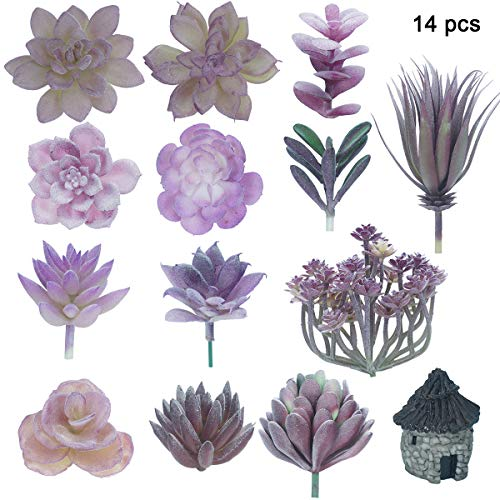 14PCS Mini Purple Faux Succulent Plants Unpotted Fake Flowers Frosted Greenery Picks Plastic Cactus Topiary Floral Arrangement Accent with Small Stone House Bonsai Ornaments for Wedding Centerpieces