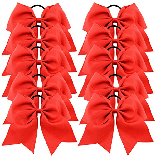 Tobatoba Large Cheer Hair Bows Cheerleading Elastic Grosgrain Ribbon Bows Hair Ties Ponytail Holder For Girls Women, 12 Pieces (Red)