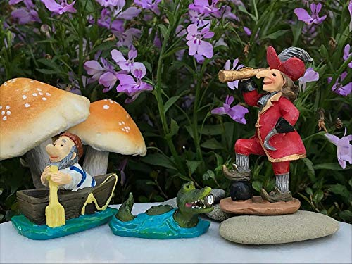Adjore Miniature Dollhouse Fairy Garden ~ Neverland Mini Captain Hook, SMEE & Crocod ~ Best Outdoor Accessory]()