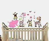 Mini Safari Spring Jungle Animal Wall Decals, Jungle Stickers, Elephant, Lion, Giraffe, Monkey
