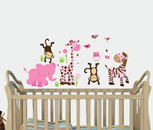 Mini Safari Spring Jungle Animal Wall Decals, Jungle Stickers, Elephant, Lion, Giraffe, Monkey by Nursery Decals and More