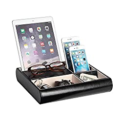 JackCubeDesign Valet Tray Leather Multi Catch all Storage Box Men's Dresser Desk Organizer Jewelry Accessories Night Stand for Keys, Phone, Wallet, Coin, Jewelry(Black) – :MK318A