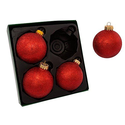 Kurt Adler 80mm Set of 4 Red Glitter Glass Ball Ornament Set, 4 -
