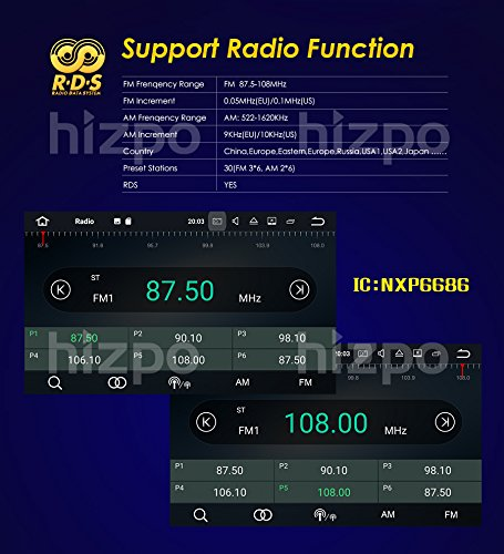 Android 7.1 Car Stereo DVD Player For GMC Chevy Silverado 1500 2012 GMC Sierra 2011 2010 7 inch Quad Core Double Din In Dash Touchscreen FM/AM Radio Receiver Navigation Bluetooth with Backup Camera by HIZPO (Image #7)
