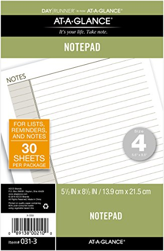 "AT-A-GLANCE Notepad Refill, 5-1/2 x 8-1/2"", Undated, Lined Note Pad (031-3)"