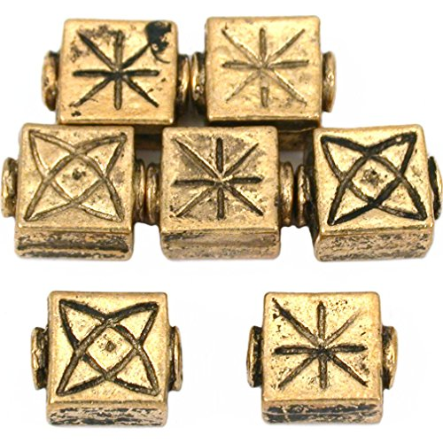 15g Fluted Square Beads Antq Gold Plated 10mm Approx 7 ()