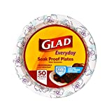 "Glad Round Disposable Paper Plates for All Occasions | New & Improved Quality | Soak Proof, Cut Proof, Microwaveable Heavy Duty Disposable Plates | 10"" Diameter, 50 Count Bulk Paper Plates: more info"