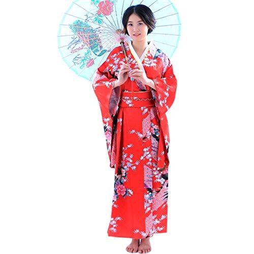 Japanese kimono uniform ladies peacock flower photo stage costumes (Red)