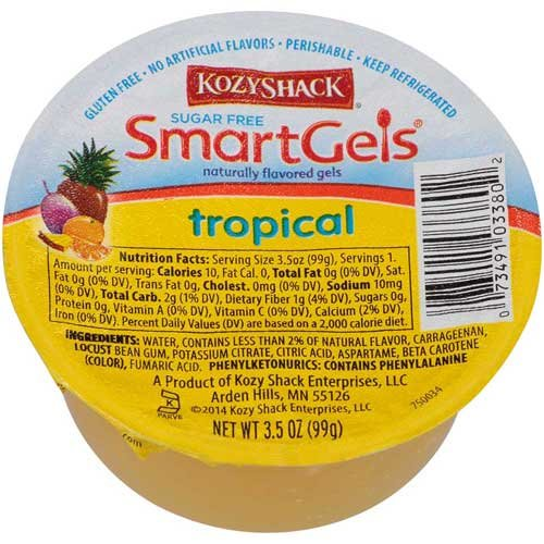 Kozy Shack Sugar Free Tropical Smartgels, 3.5 Ounce -- 48 per case.