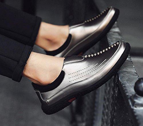 Moda de de Zapatos Hombres Mocasines de Conducción Zapatos para Casuales Negocios Zapatos Cuero Gris de aqvRwxO