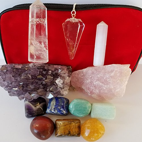 12 piece Chakra Stones Healing/Balancing Kit includes Ebook, Chakra Crystals, Amethyst Cluster, Quartz Pendulum, Raw Rose Quartz, Selenite Point, Crystal Obelisk. Use for Reiki, Meditation, Rituals