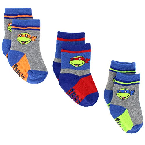 Superhero Baby Toddler 3 pack Gripper Athletic Socks (12-24M, TMNT Grey)