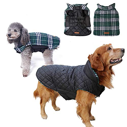 J.Market Dog Coat Warm Winter Coats for Dog Waterproof Windproof Winter Jacket Grid Plaid Reversible Coat Size M to XXL Available(Tag XL=US L,Green)