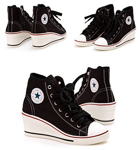 Jiye Damesschoenen High-heeled Fashion Sneaker Pump Schoenen C-black