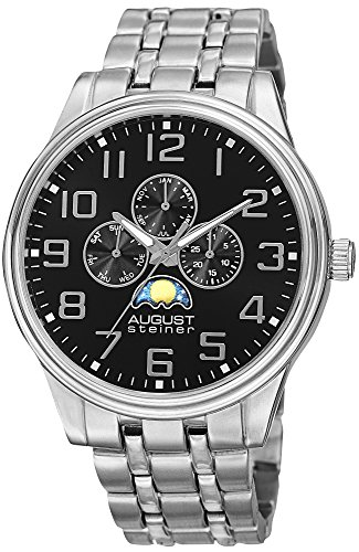August Steiner Men's AS8174SSB Silver Multifunction Quartz Watch with Moon phase Indicator on Black Dial and Silver Bracelet