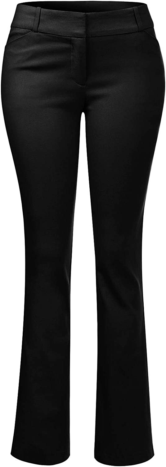 Design by Olivia Women's High Waist Comfy Stretchy Bootcut Trouser Pants