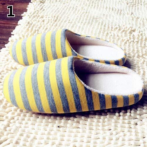 Blue Righe Cotone Yellow Achidistviq Morbido 44 Invernale Scarpe Antiscivolo Men 's ' A Women Dark Caldo Indoor S Pantofole q1wa60q