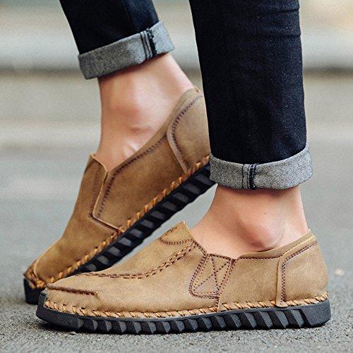 CUSTOME Homme Chaussures Cuir Appartement Glisser Sur Chaussures de Conduite Doux Lacer Respirant Loisir Poids Léger Confortable Décontractée Chaussures Kaki eoElSg5l