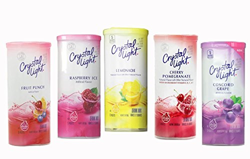Crystal Light Summer Variety 5 Pack. Makes a total of 30 - 1/2 Gallon Pitchers. Variety Includes Concord Grape, Fruit Punch, Lemonade, Raspberry Ice and Cherry Pomegranate.