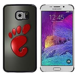 TopCaseStore / la caja del caucho duro de la cubierta de protección de la piel - Cool Funny Cute Foot Print Red - Samsung Galaxy S6 EDGE SM-G925