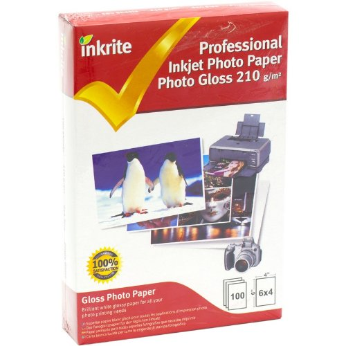 Inkrite PhotoPlus Professional Paper Photo Gloss 210gsm 6x4 (100 sheets) (Papers Photographic 100 Gloss Sheet)