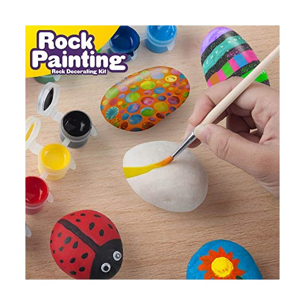 Rock-Painting-Outdoor-Activity-Kit-for-Kids–DIY-Art-Set-w-10-Hide-and-Seek-Stones-12-Acrylic-Paint-Tubes-2-Brushes–Fun-Googly-Eyes-Easy-Transfer-Design-for-Boys-Girls