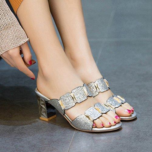 Donna Jitian Sabot Sabot sandali Jitian Argento pFq7Zq