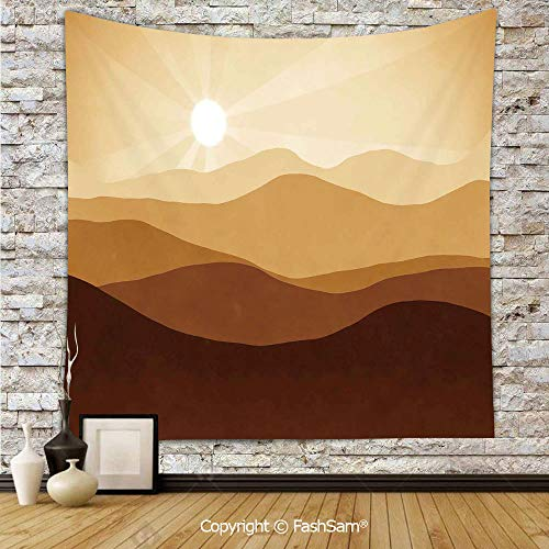 (FashSam Tapestry Wall Hanging Sunrise Over The Mountains Conceptual Landscape Hills Rays Scenery Tapestries Dorm Living Room)
