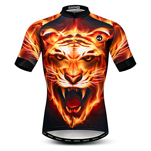 Men's Cycling Jersey Short Sleeve Bike Shirts Bicycle Jacket with Pockets Biking Clothes Cycle Wear Top 3D Fire Tiger Size M