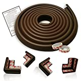 Edge Cushion & Corner Guard Set – EXTRA DENSE Childproof Furniture Protectors – 16.2 Ft. Coverage (15 Ft. Edge & 4 TAPED Corner Bumpers) - Coffee Brown - FREE Home Baby Proofing Checklist