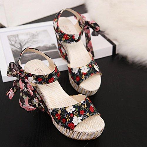 bescita Frauen Mode Sommer Hang mit Flip Flops Sandalen Slipper Schuhe (38, Schwarz)