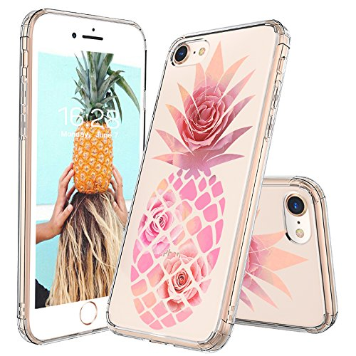 iPhone 7 Case, iPhone 8 Case, Clear iPhone 7 Case, MOSNOVO Pineapple with Rose Flower Clear Design Printed Plastic Hard Case with TPU Bumper Protective Case Cover for iPhone 7 (2016) / iPhone 8 (2017)