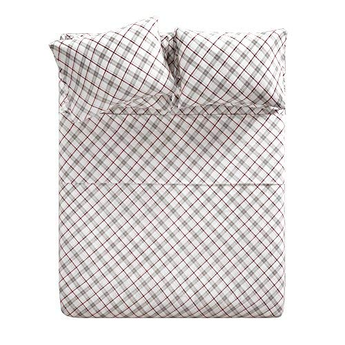 100% Cotton Flannel Sheets Set - Soft Plaid King Bed Sheet with Deep Pocket - Grey/Red Bedding Sets 6 Pieces [ 1 Fitted Sheet,1 Flat Sheet, and 4 Pillow Cases ] King Size Sheets