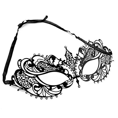 Masquerade Masks,Cozypony Metal Laser Cut Elegant Princess Hollow Out Mardi Gras Mask for Dance Performance Party Ball or Prom Masks (Small, Black) - Elegant Laser Cut Mask